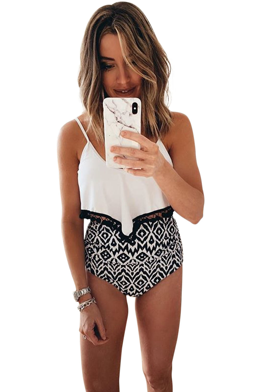 White Print High Waist Swimsuit