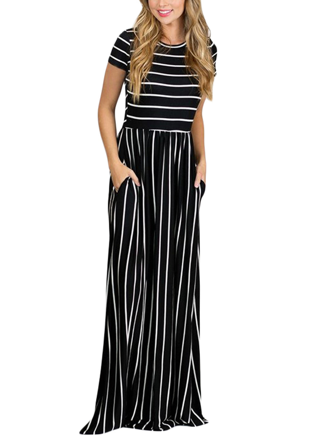 White Striped Black Short Sleeve Maxi Dress