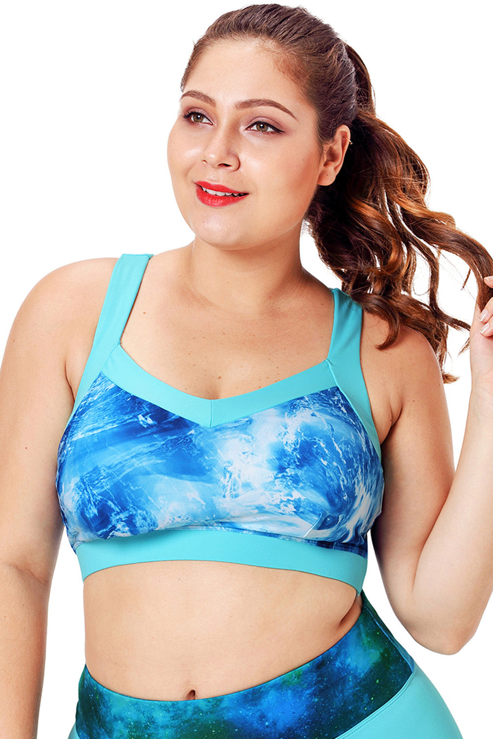 Light Blue Plus Size Abstract Print Racerback Sport Bra