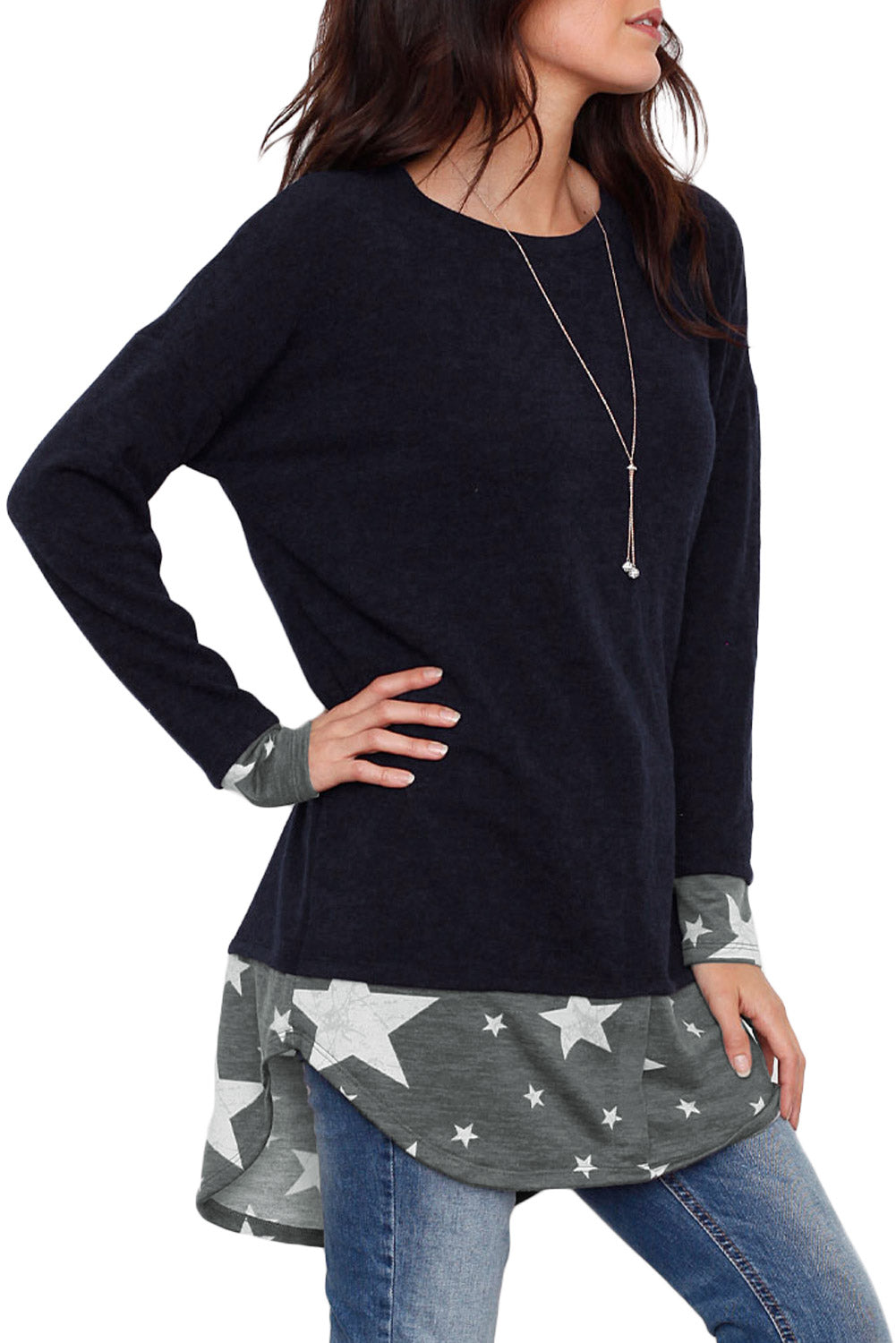 Star Splice Navy Long Sleeve Tunic Top