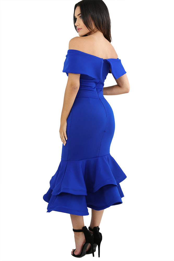 Royal Blue Bow Cape Off Shoulder Mermaid Bodycon Poncho Dress
