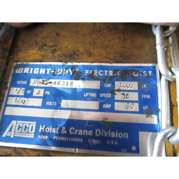 Agco Wright 1/2 Ton Electric Chain Hoist Overhead Crane Lift 1000LBS - Parts