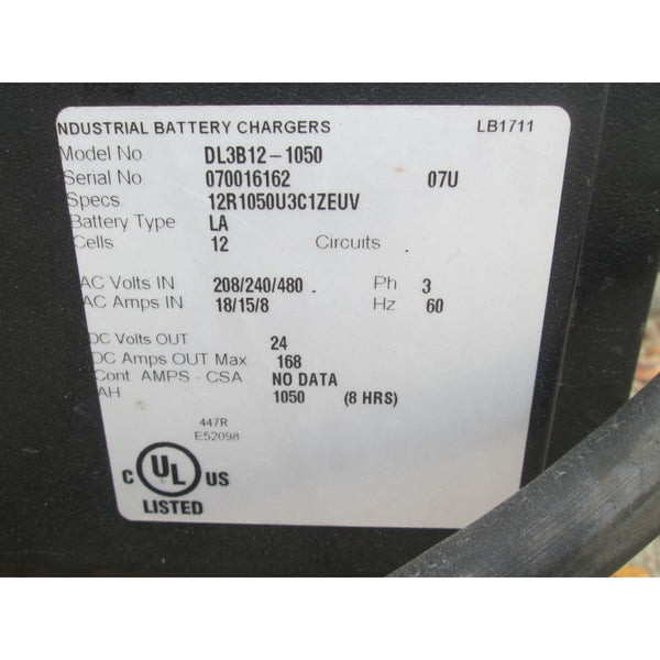 Douglas DL3B12-1050 24V Industrial Battery Charger 3PH 1050AH 208 240 480V - Chargers
