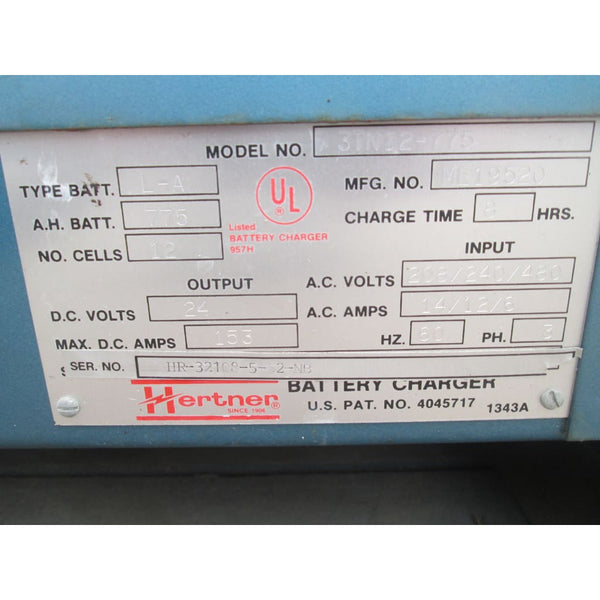 Hertner Auto 1000 24V Electric Forklift Battery Charger 208/240/480V 775AH - Chargers