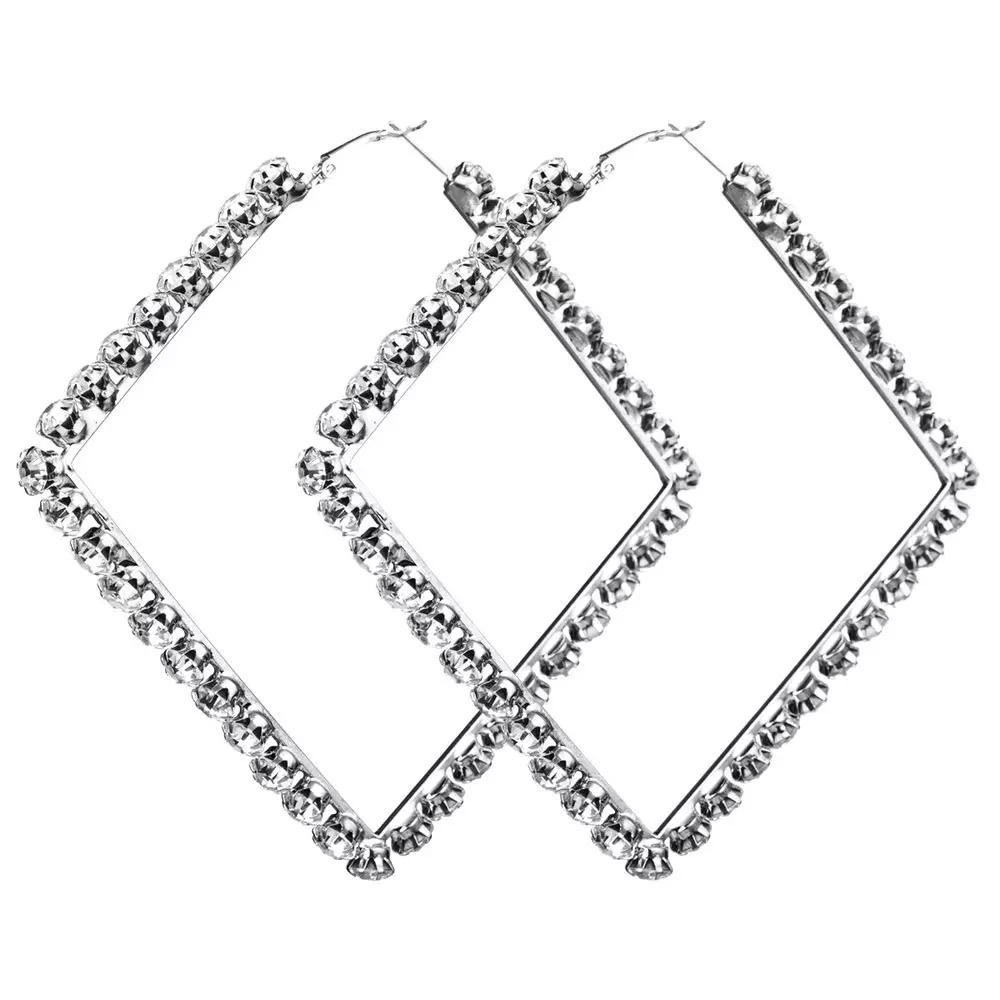 PreOrder | Silver Plated Crystal Diamond Square Hoop Earrings