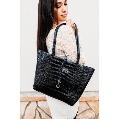 Two Piece Sophisticated Black Croc Tote and Crossbody