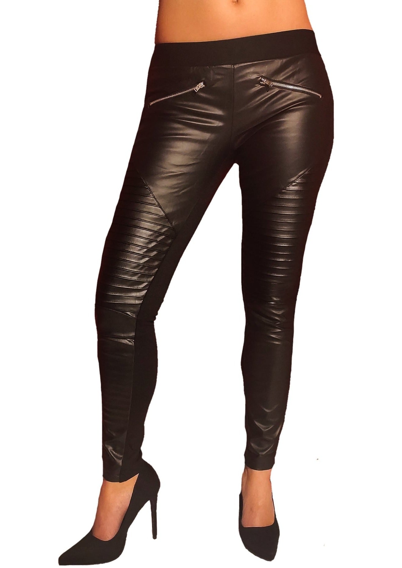 a-girl-wears-a-black-trouser-with-leatherin-motive-frontside