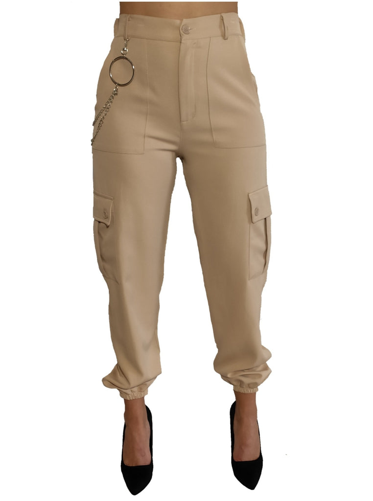 a-girl-wears-a-beize-trouser-with-silver-chain-front-side
