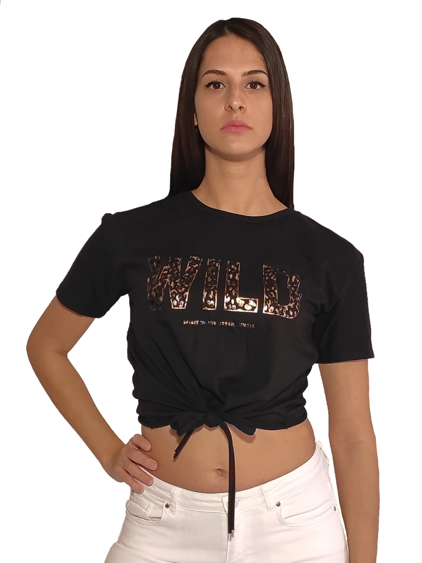 girl-wears-black-crop-top-with-wild-stamp-front