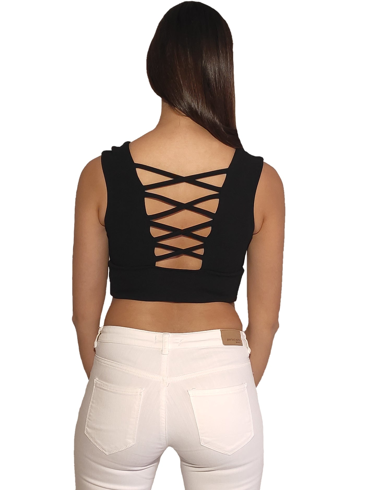 a-woman-wears-black-short-crop-top-with-V-neck-back