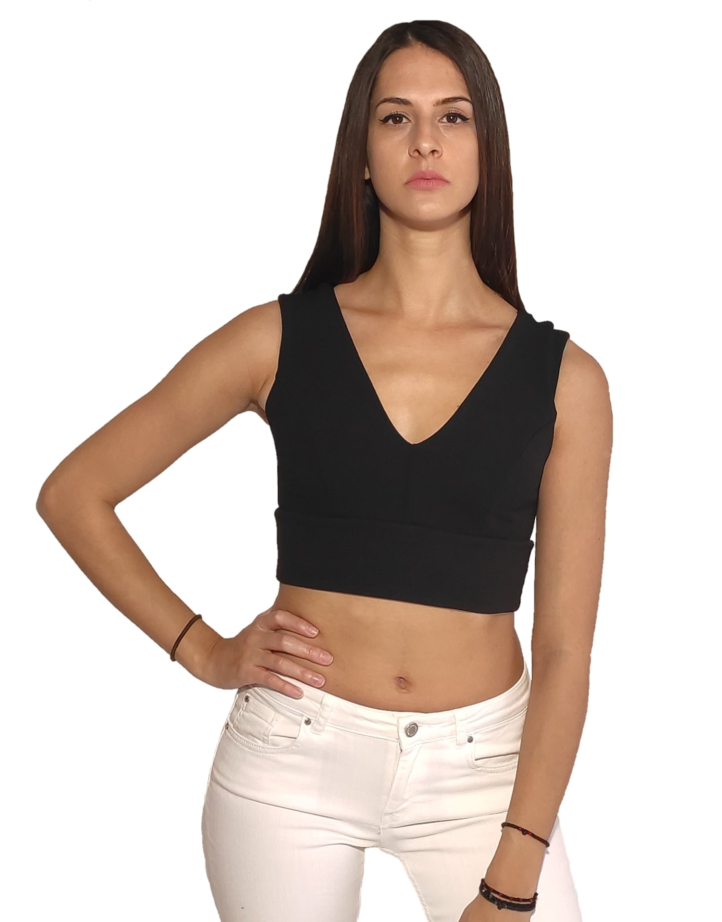 a-woman-wears-black-short-crop-top-with-V-neck-front