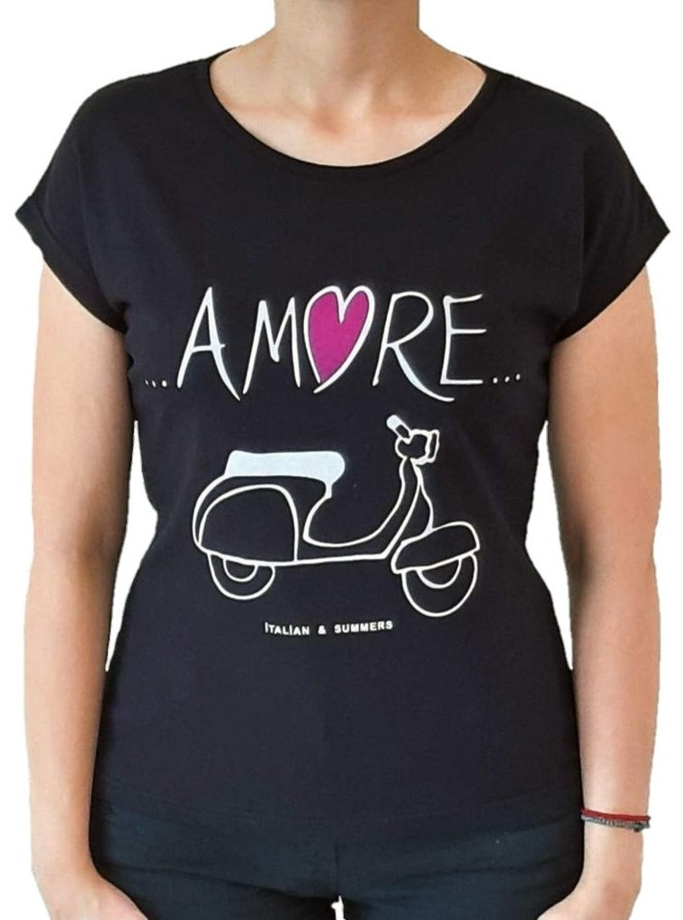 woman-wears-black-tshirt-with-amore-stamp