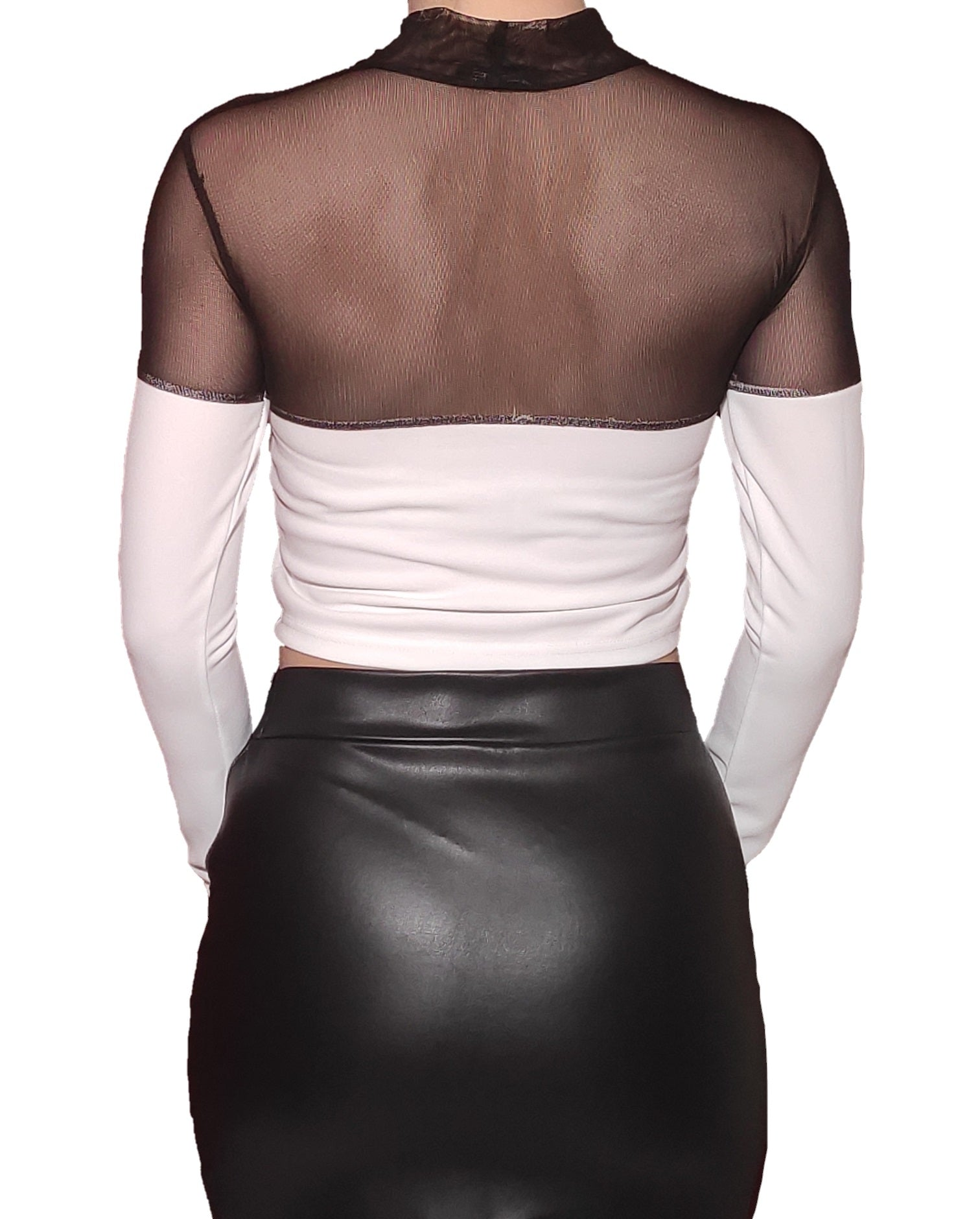 a-girl-wears-a-black-and-white-blouse-with-transparency-back-side