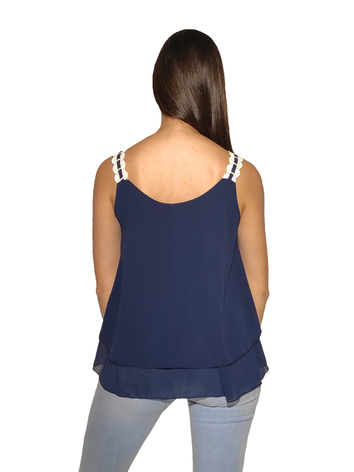 woman-wears-blue-blouse-with-white-laces-backside