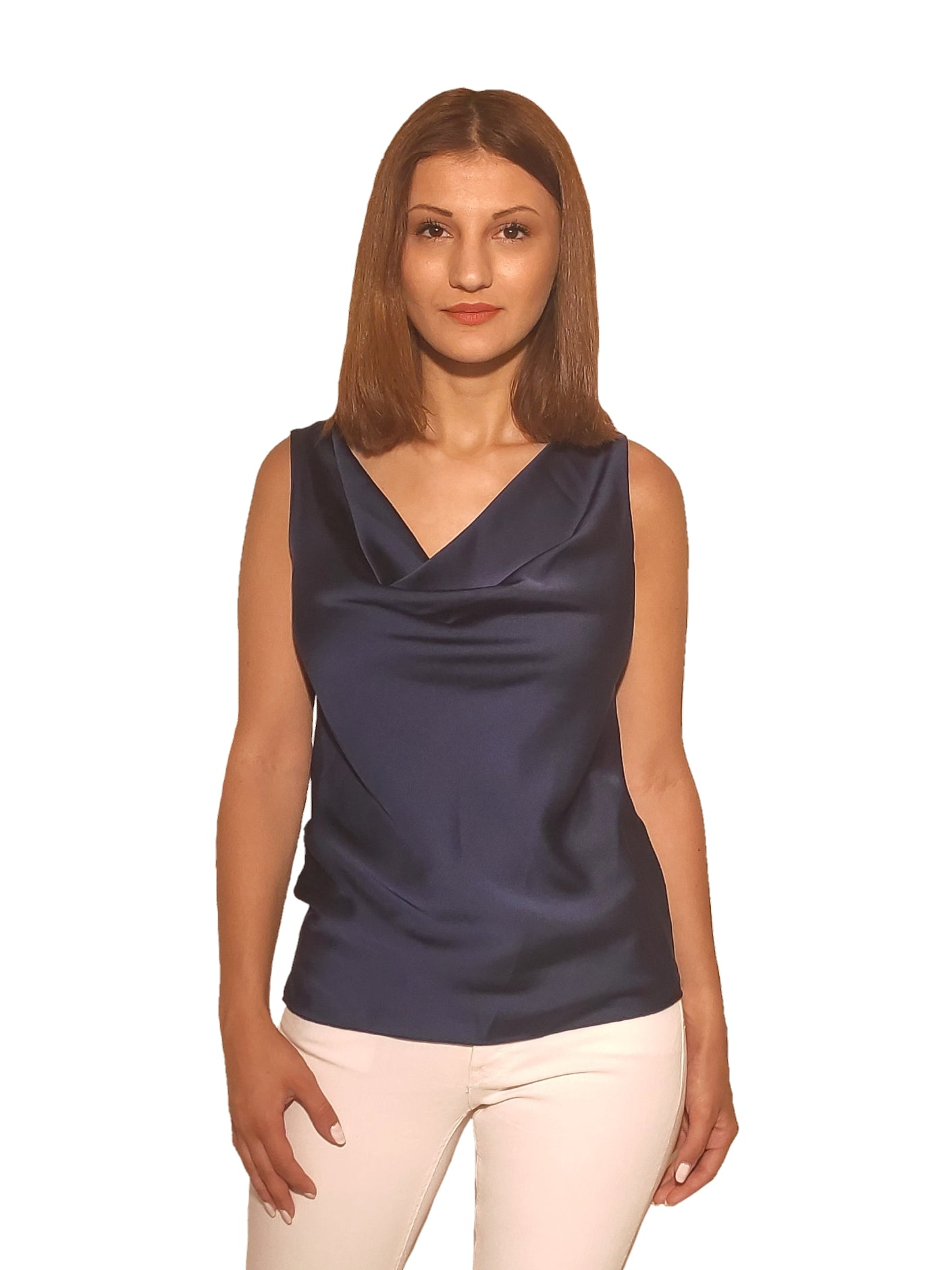 brunet-girl-wears-a-sleeveless-blue-blouse-with-satin-texture-front