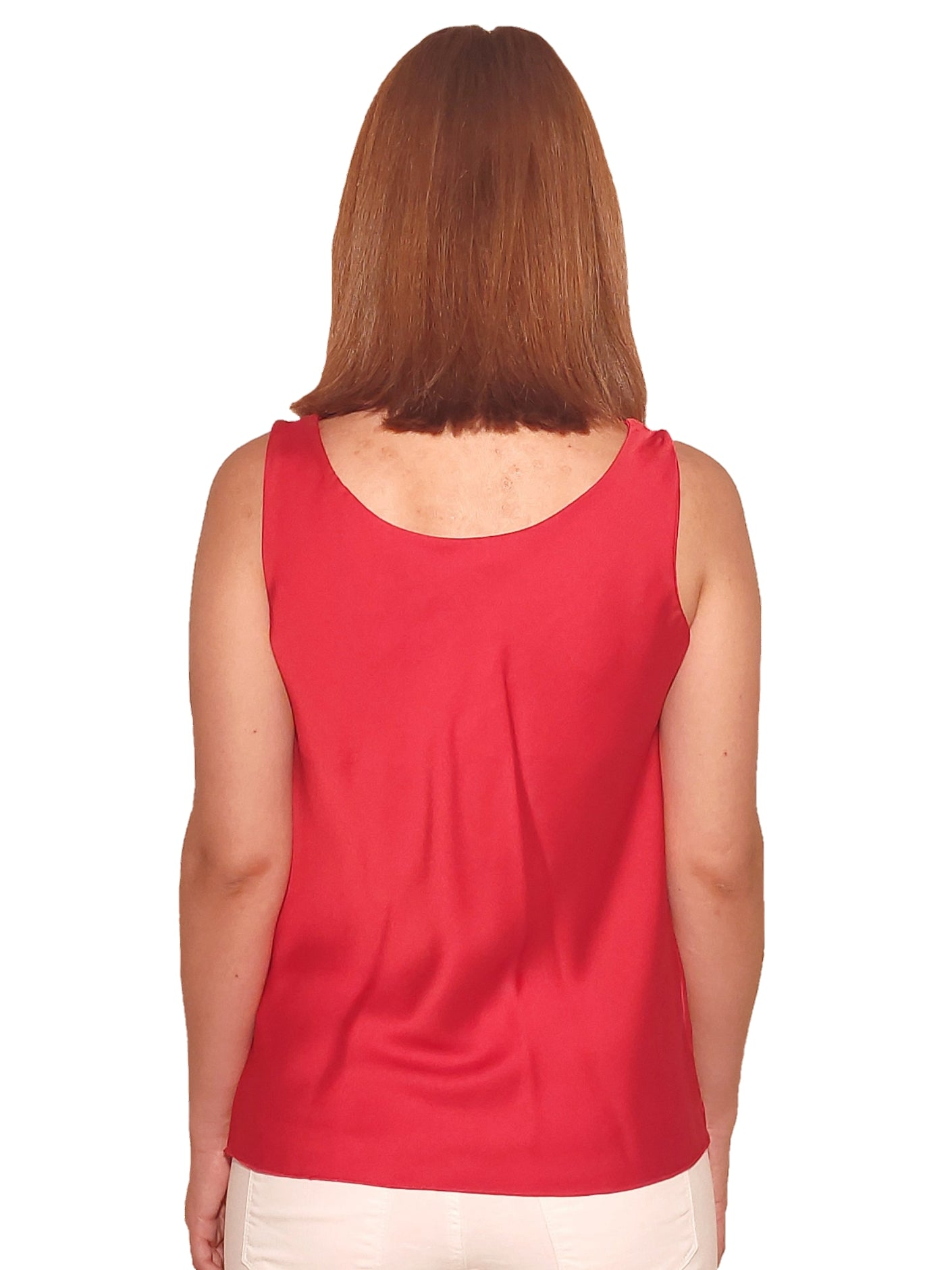 brunet-girl-wears-a-red-top-with-satin-touch-back