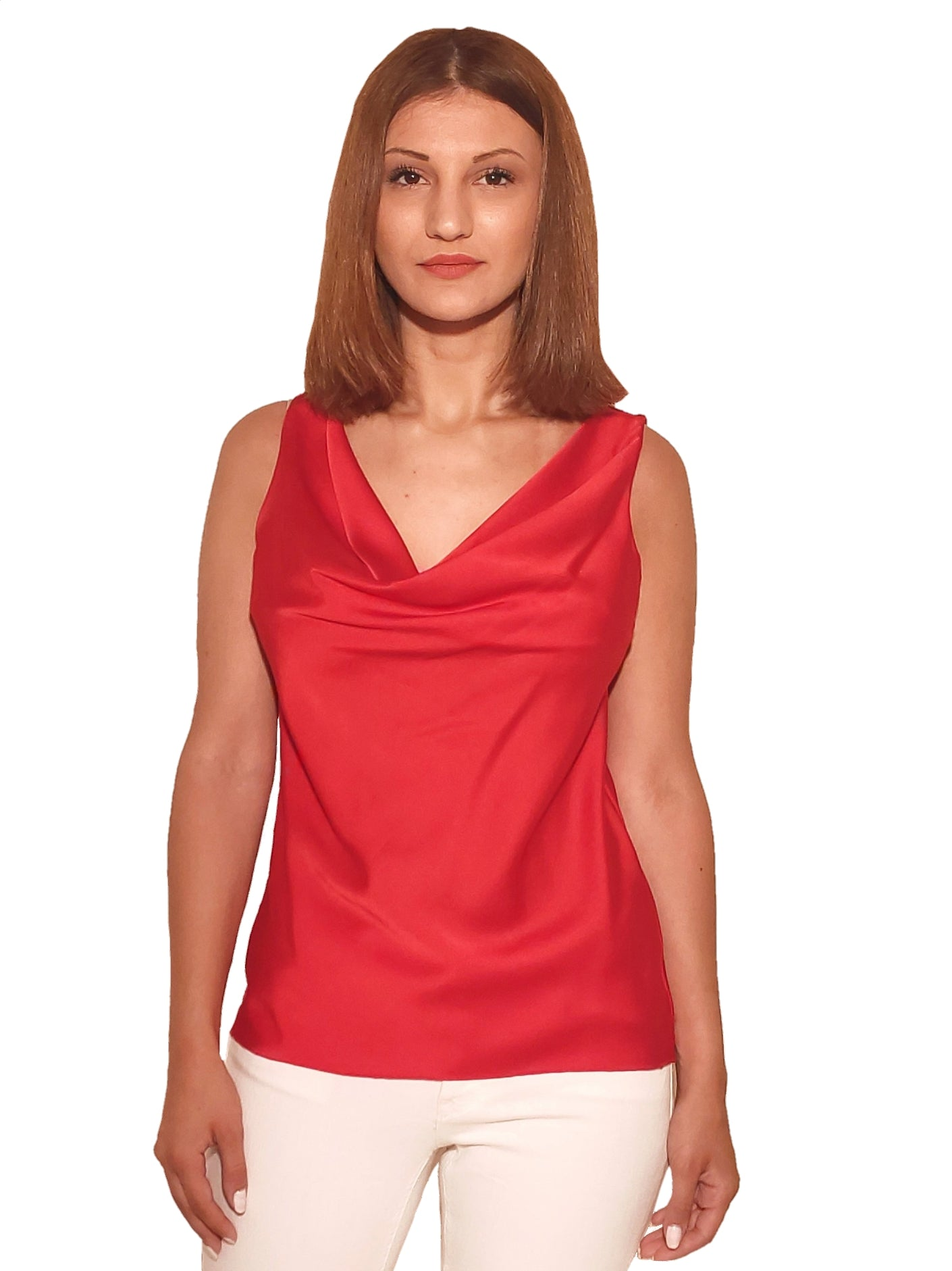 brunet-girl-wears-a-red-top-with-satin-touch-front