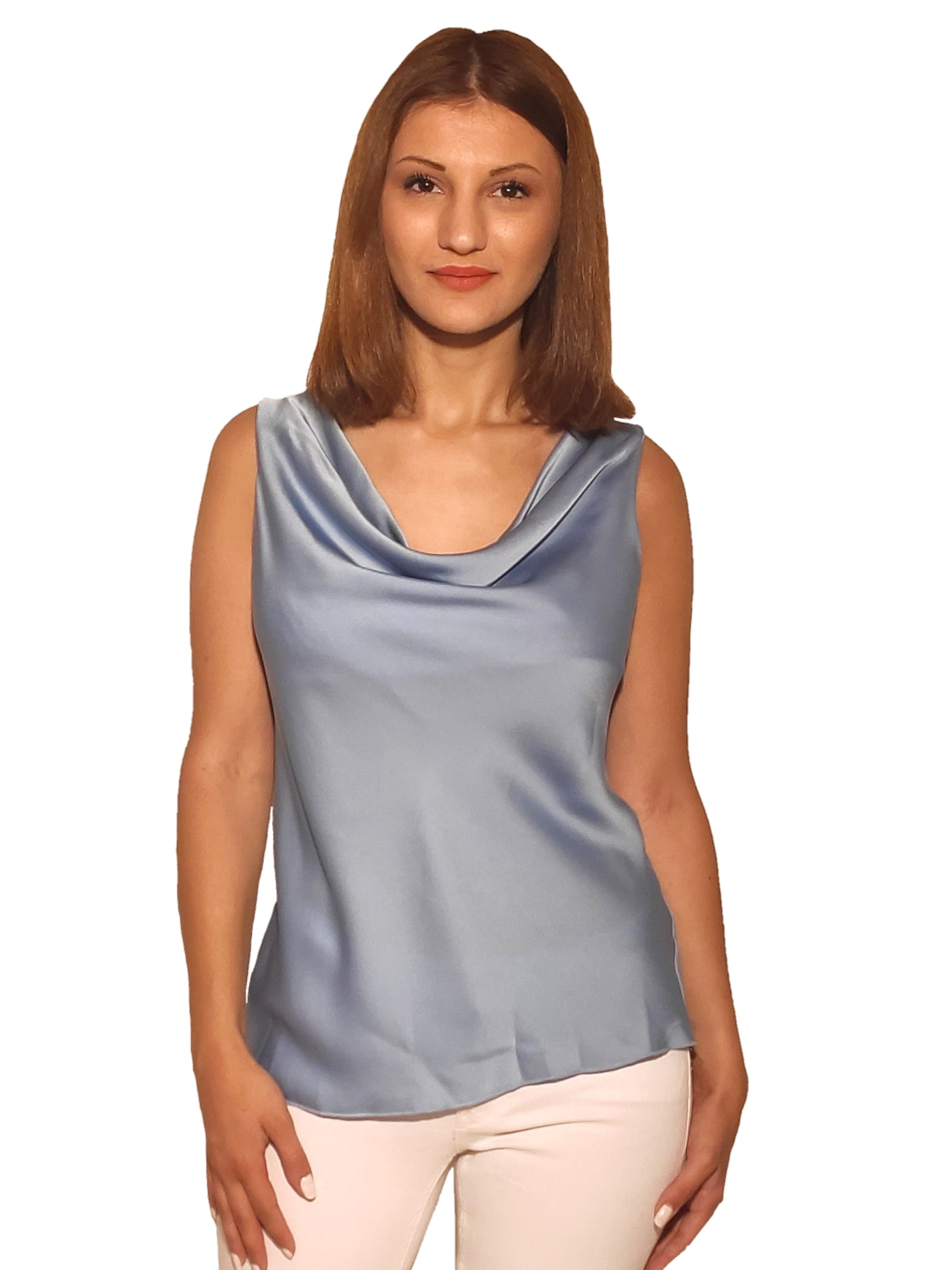 brunet-girl-wears-a-sleeveless-tirquoise-blouse-with-satin-texture-front