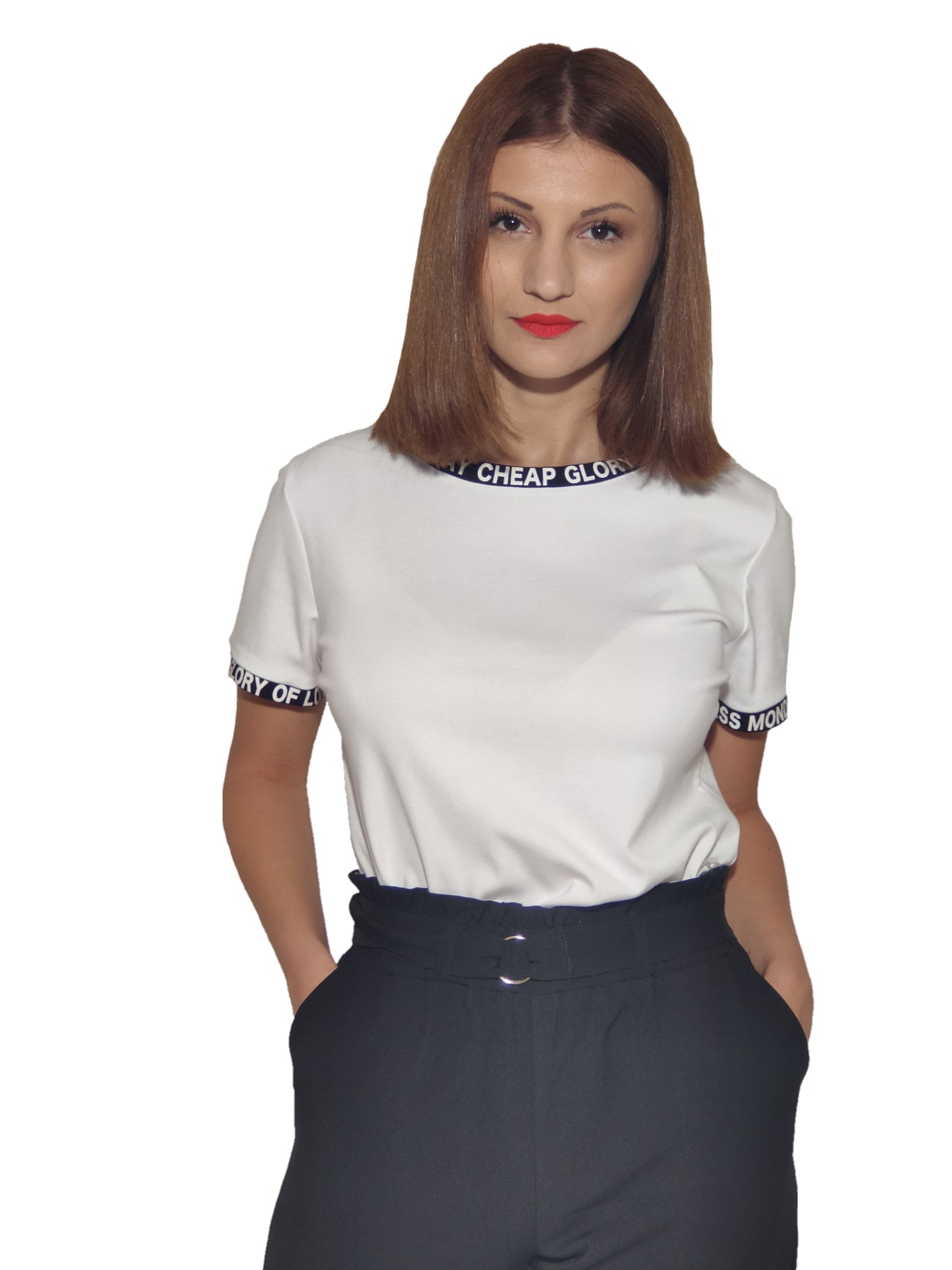brunet-girl-wears-a-white-top-with-letter-motive-front
