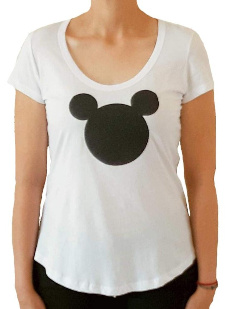 woman-wears-white-tshirt-with-mickey-mouse-stamp