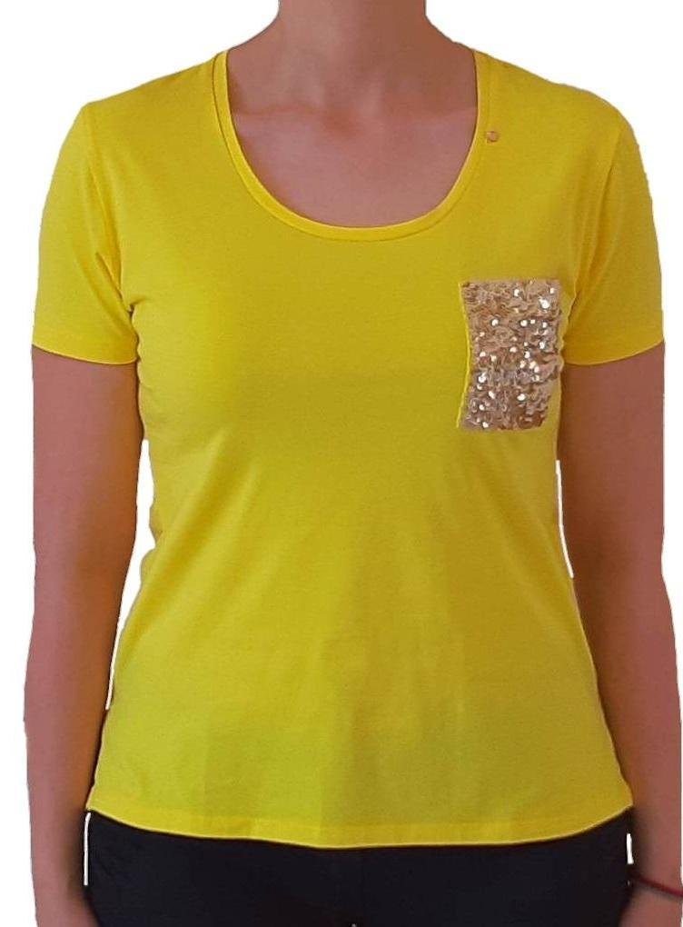 woman-wears-yellow-tshirt-with-silver-sequins-front-side