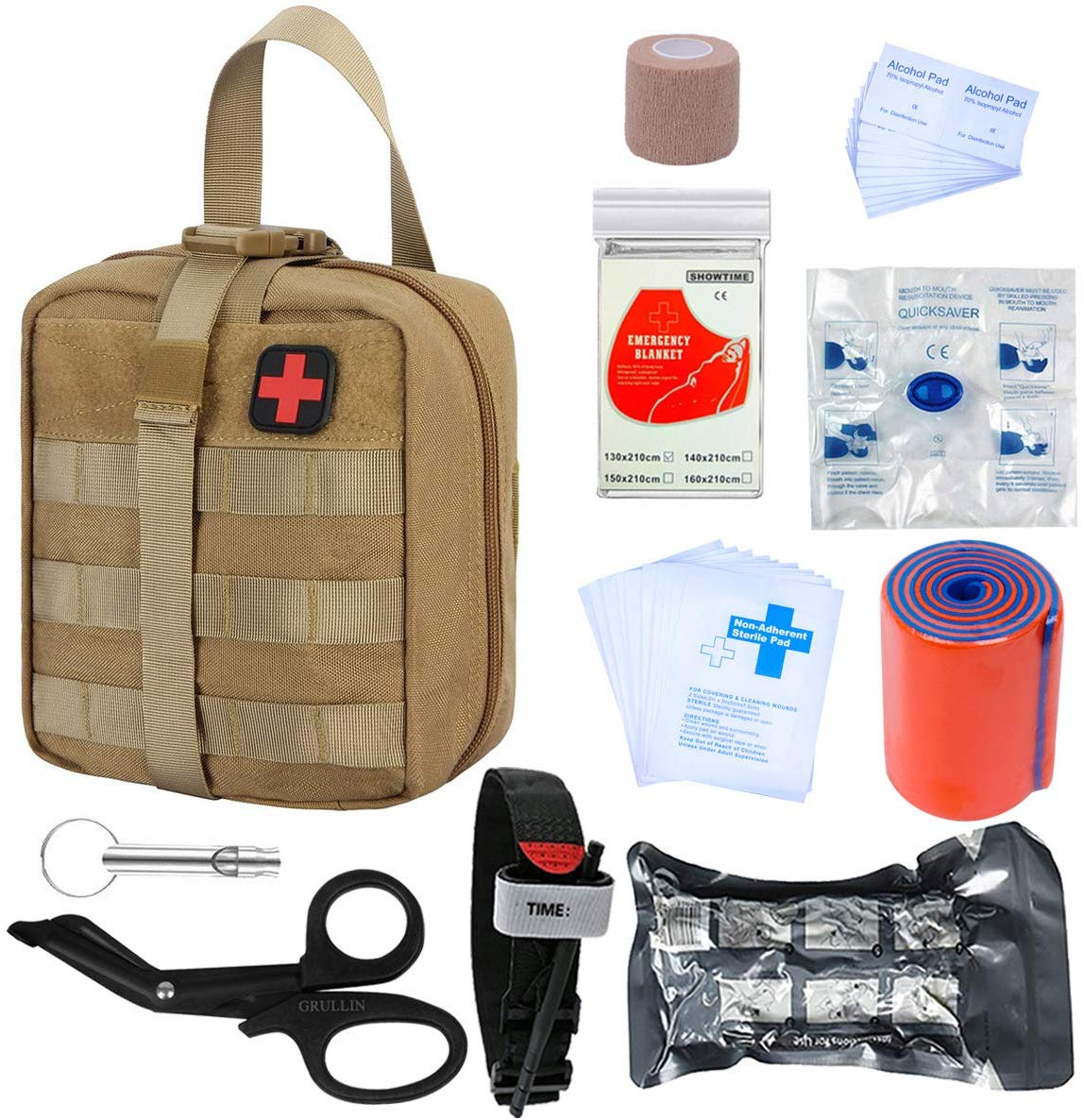 GRULLIN Survival First Aid Kits | Portable Israeli Bandage Tourniquet Splint Roll EMT Scissors Survival Bag, Practical Professional First Aid Kits for Outdoor,Room, car
