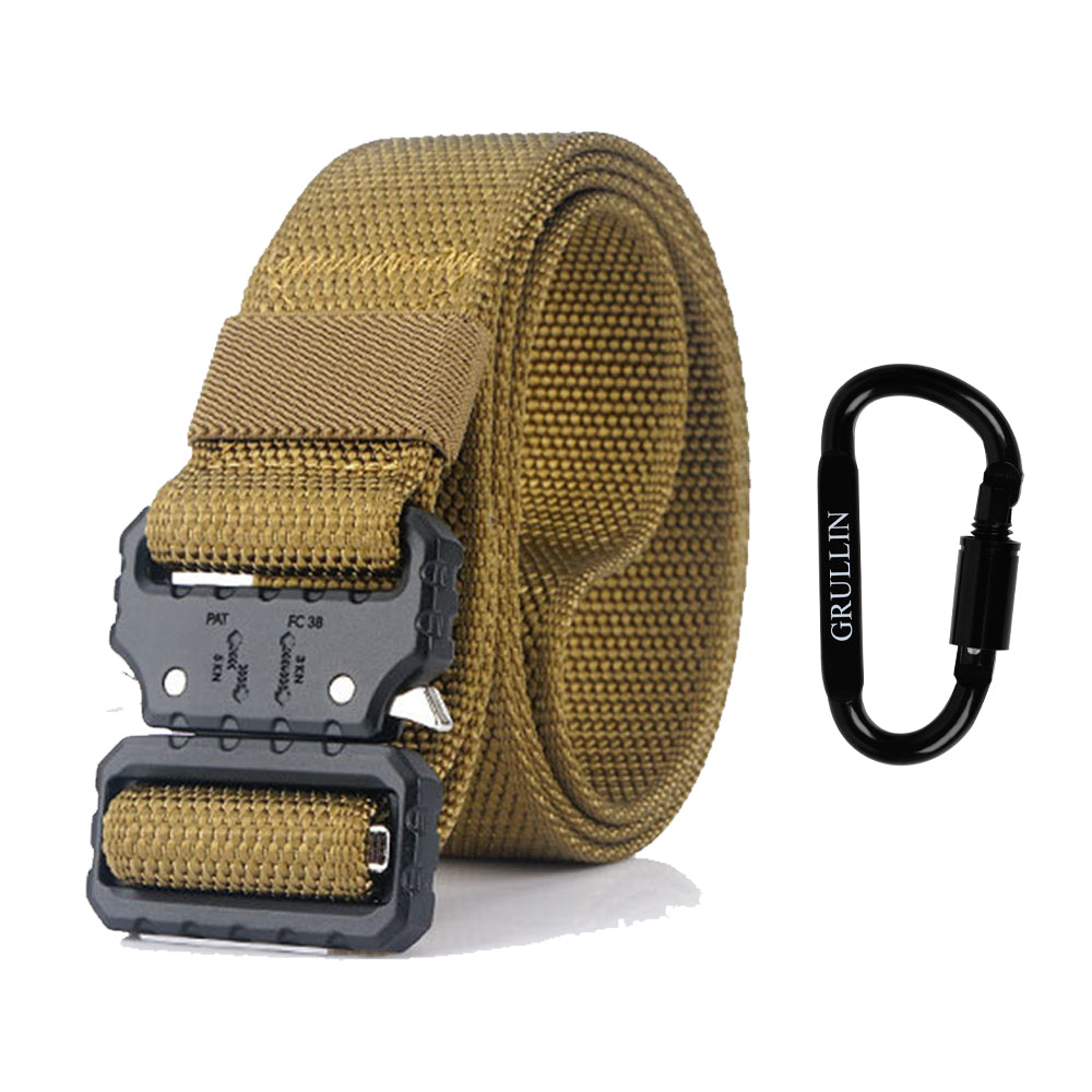 GRULLIN Tactical Nylon Belt | Quick Release Military Style Riggers Web Waist Belt  Heavy Duty Metal Buckle