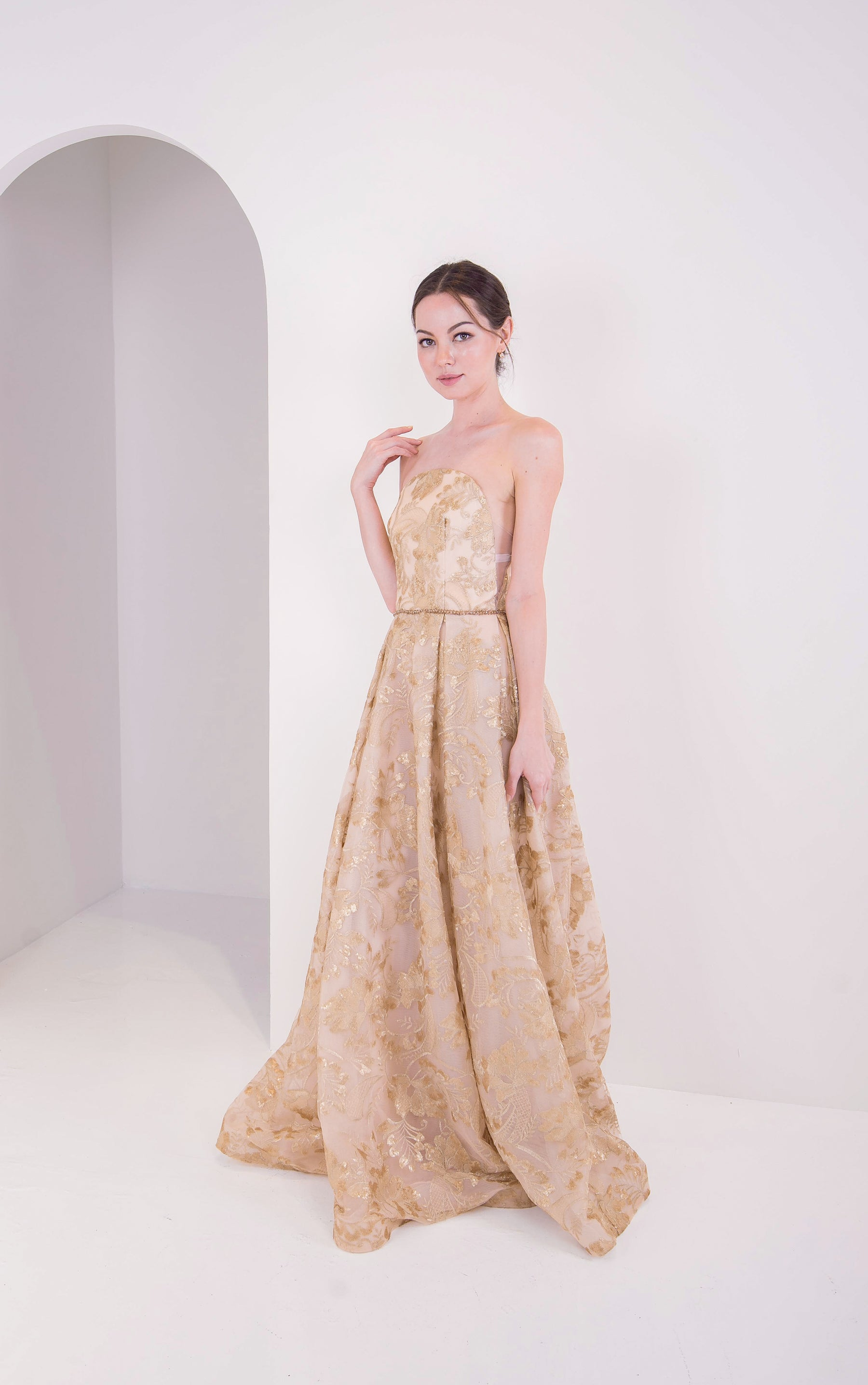 Viola Chan Gold Tube Gown
