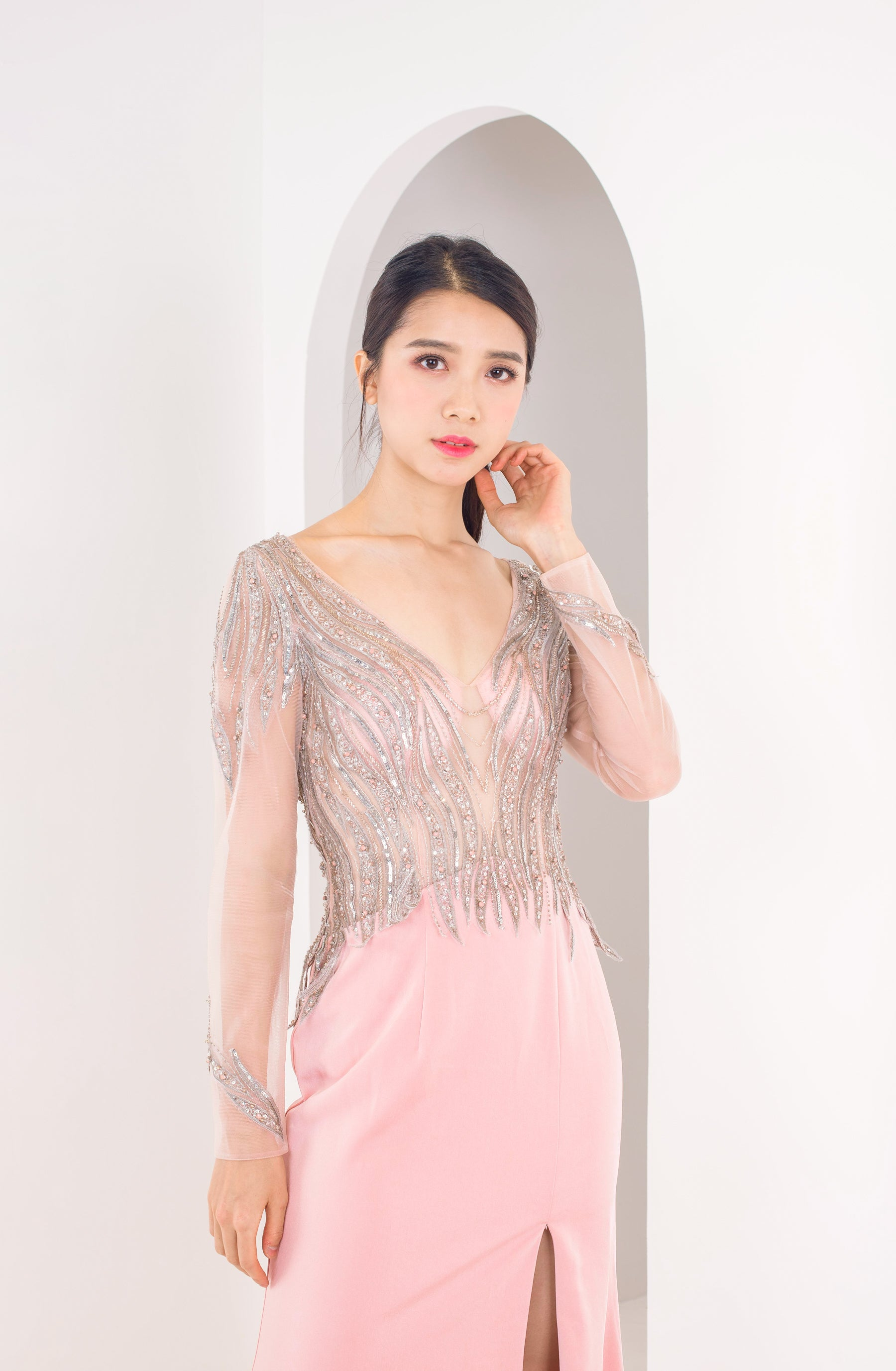 Layla Greyish Pink Long Sleeve Gown