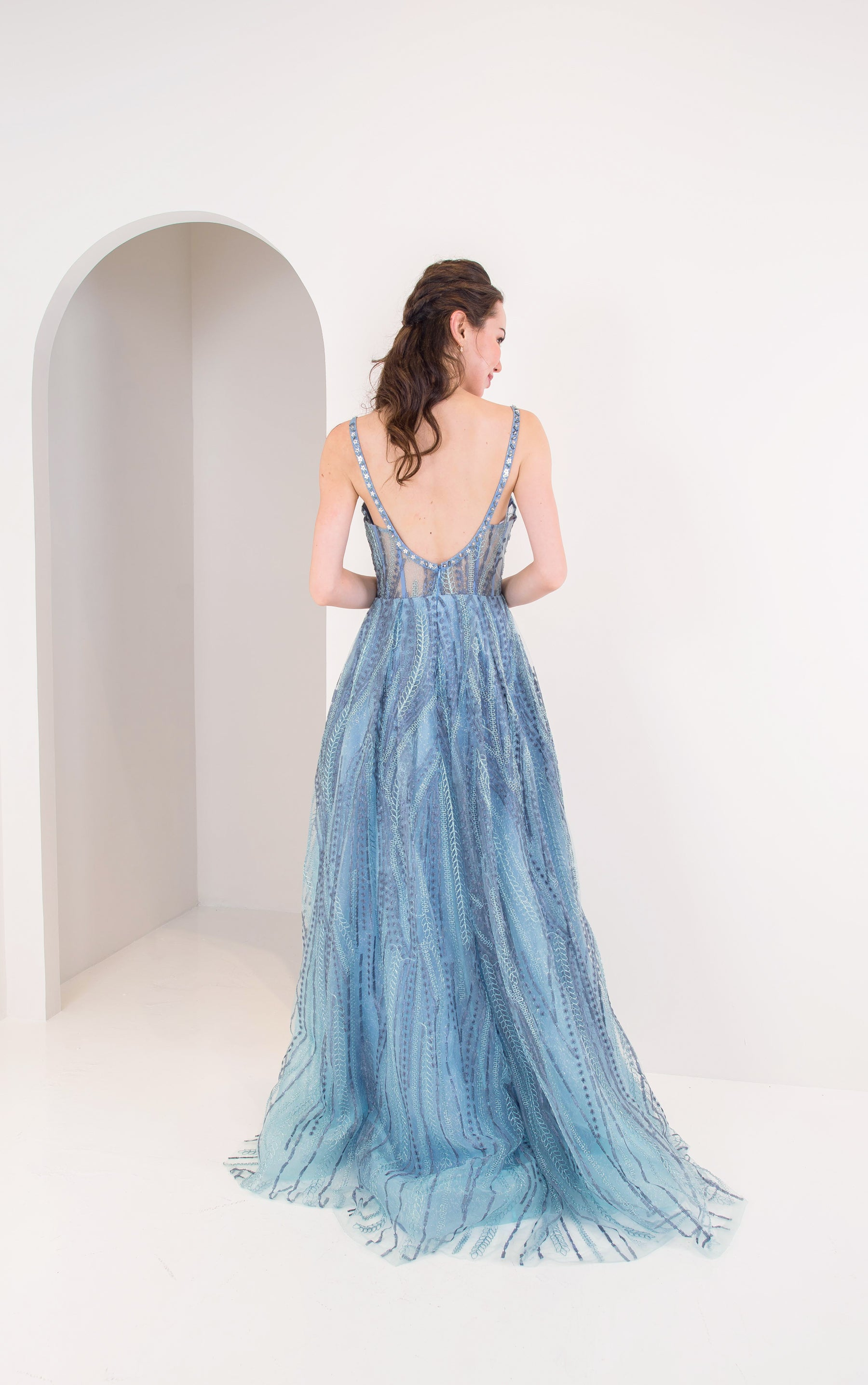Dione Floral Flowy Blue Gown