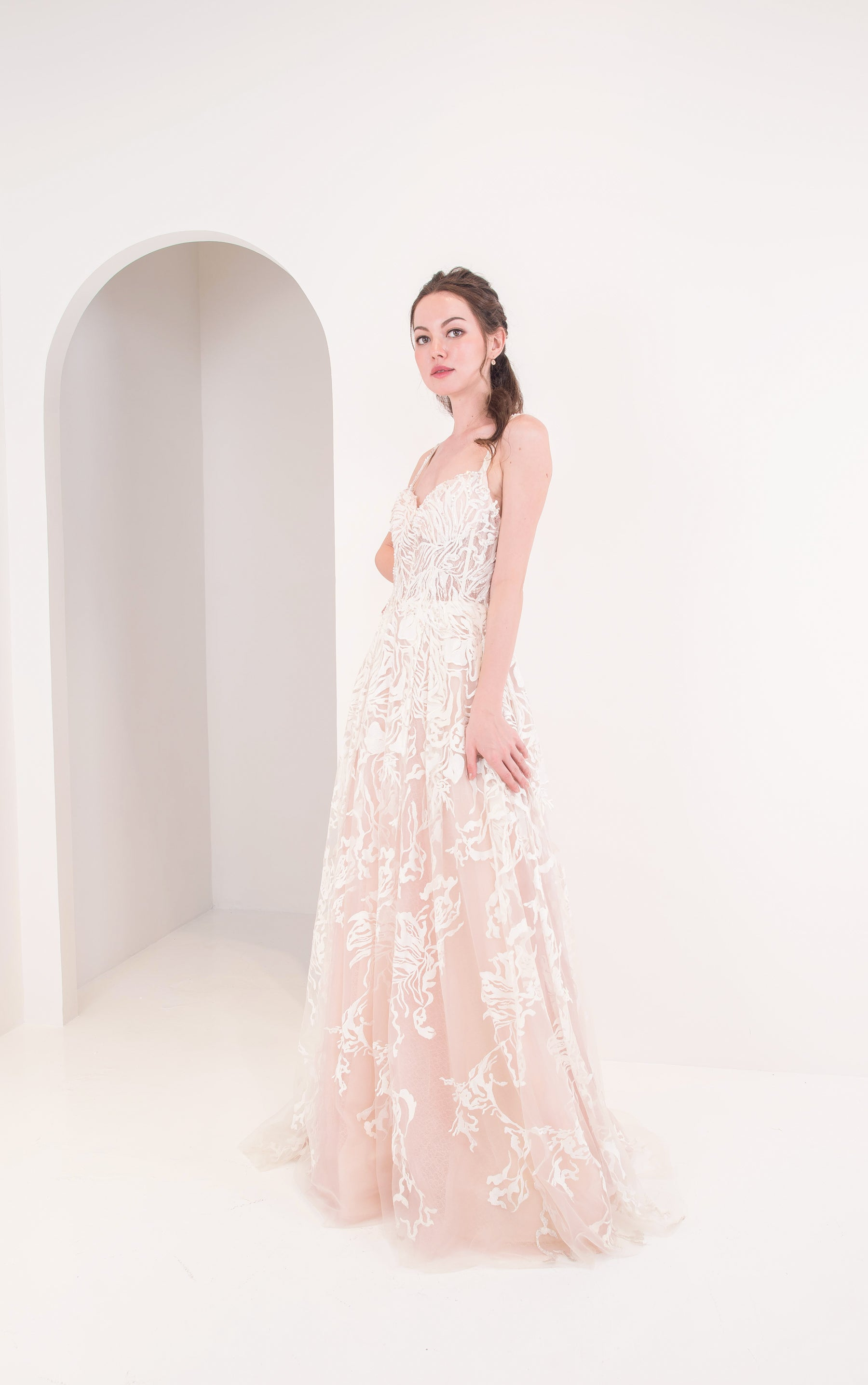 J Grace White Floral Gown