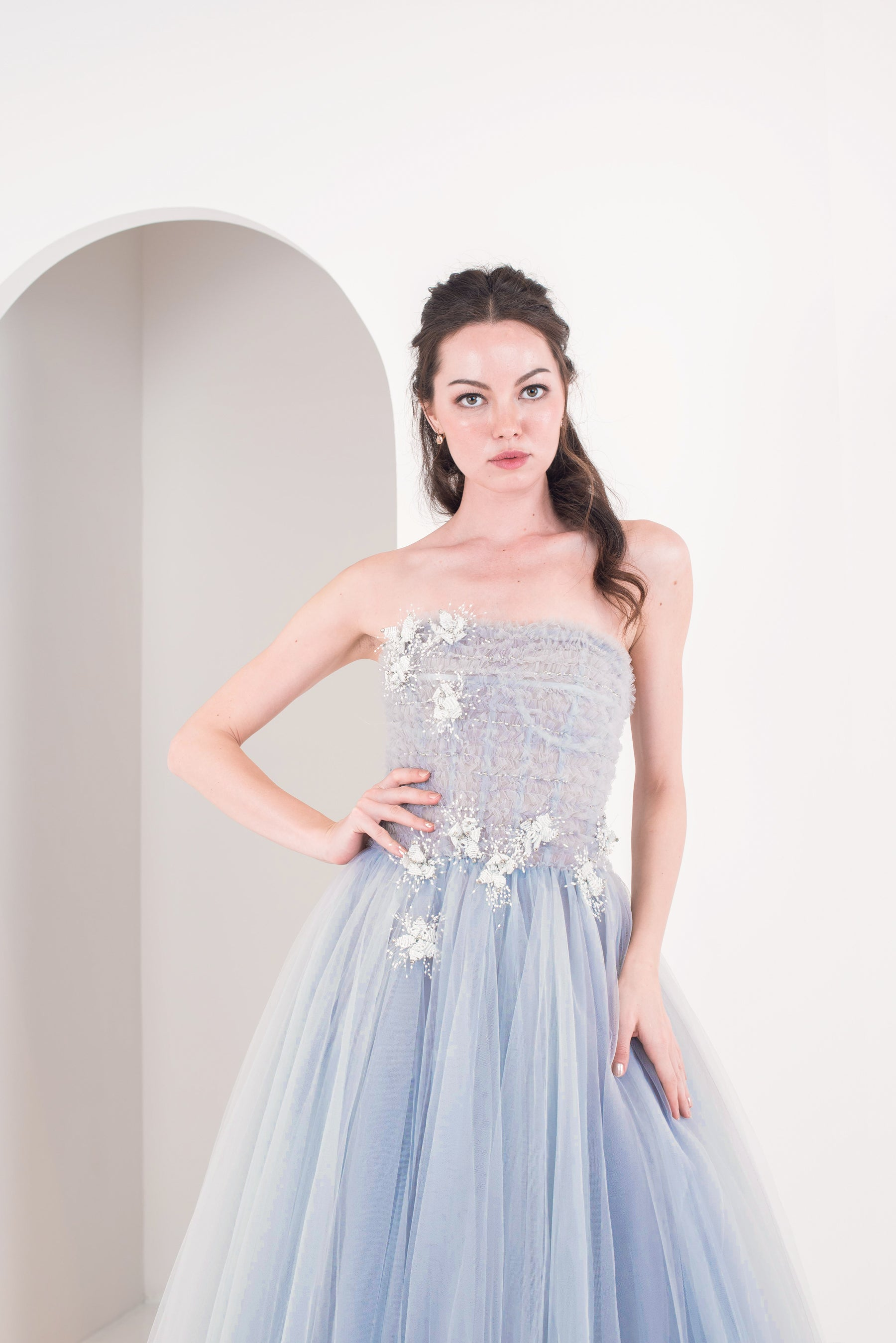 Glacier Silver Tulle Gown