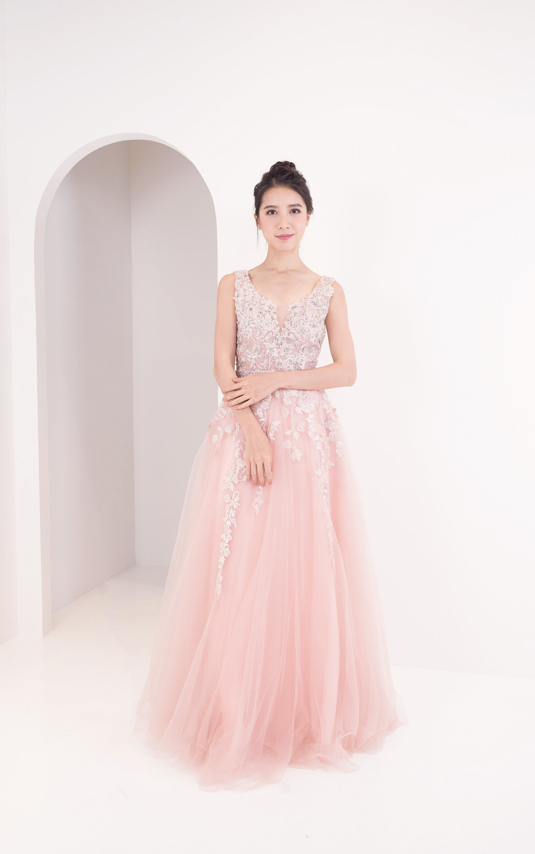 Crystal Lace Pink Gown
