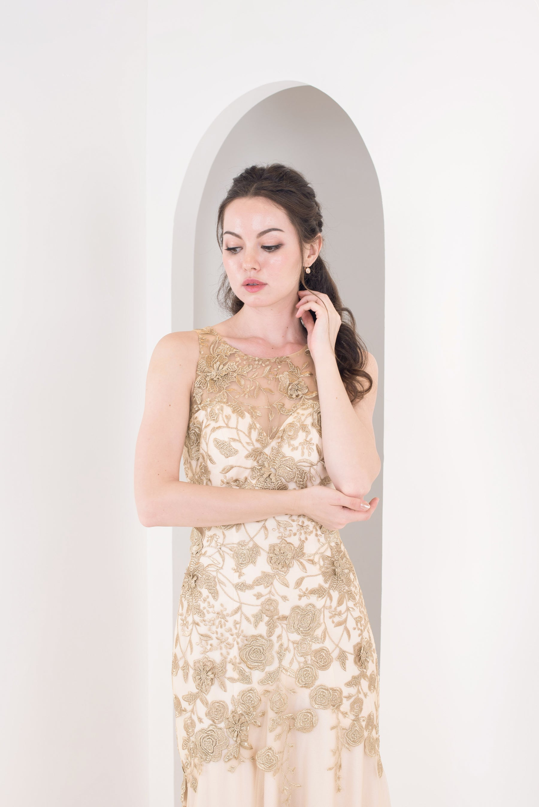 Gold Falling Embroidery Gown