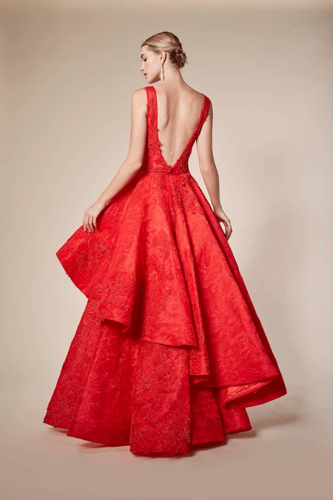 AL Anteros Red Flare Gown