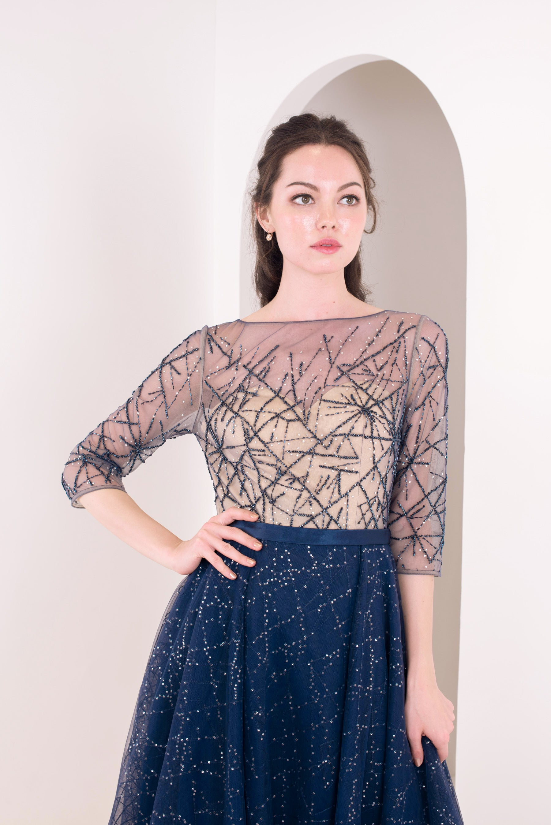 Sparkles Line Navy Gown