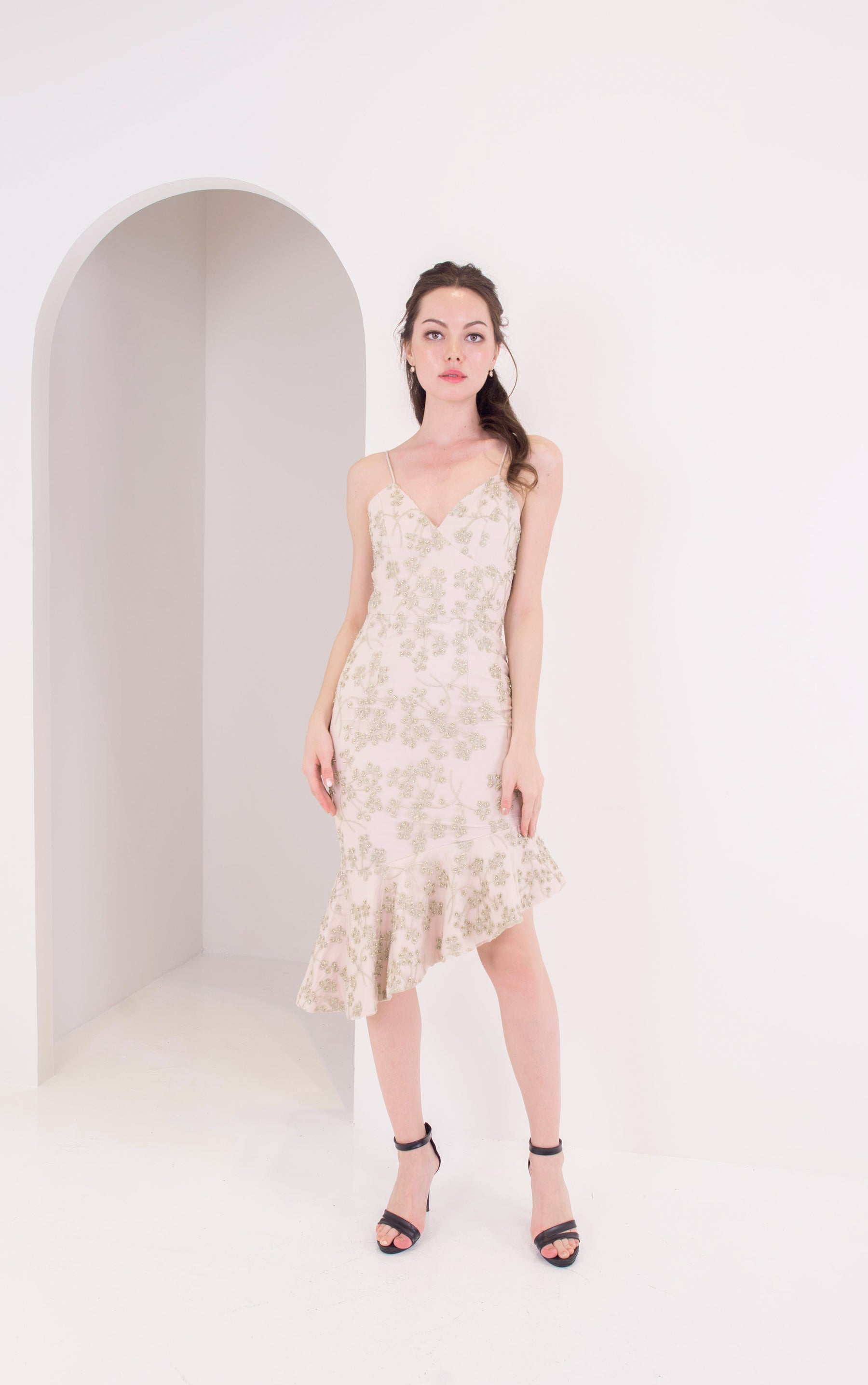 *LAST PIECE* Champagne Floral Beaded Dress