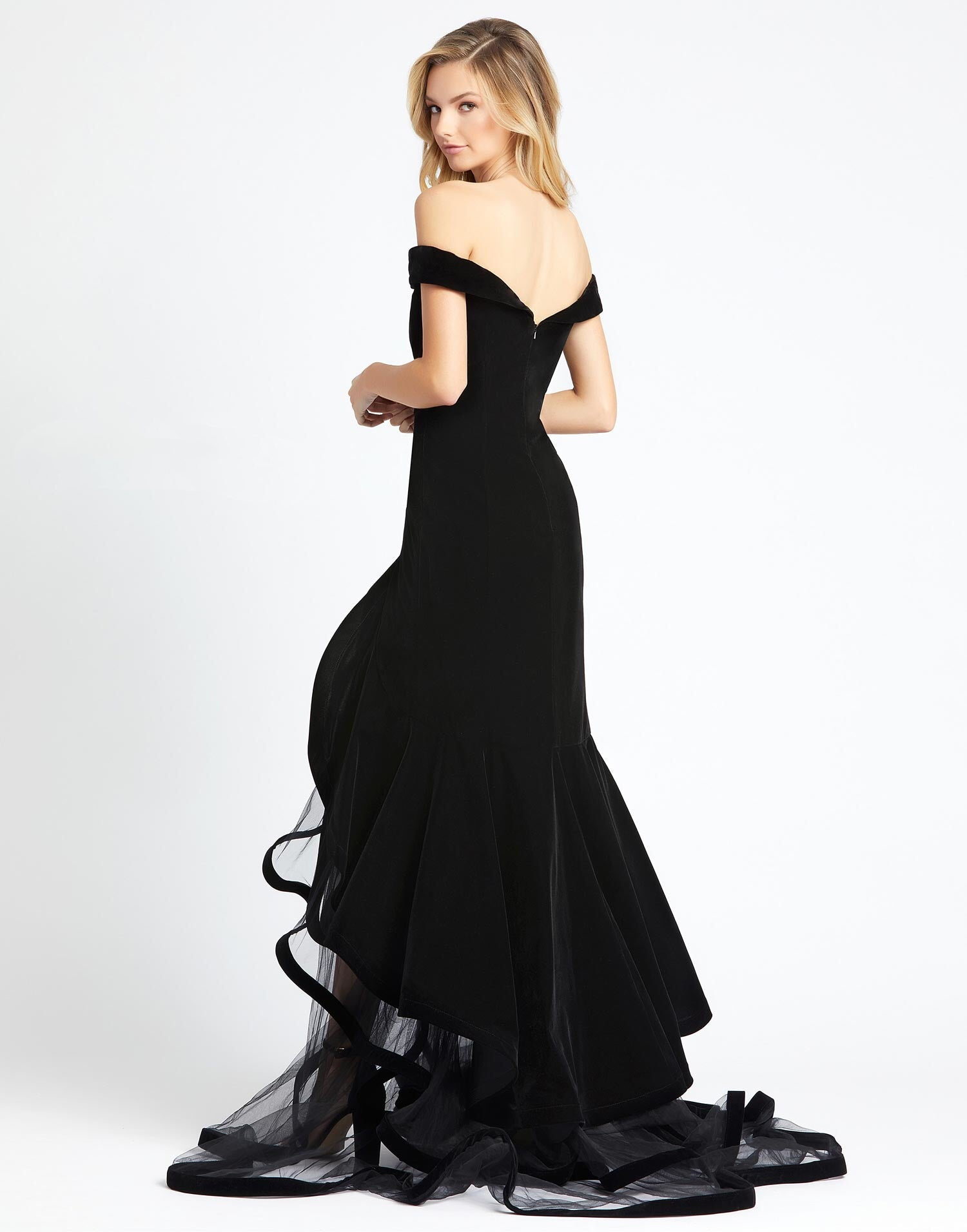 MD Marilyn Velvet Off Shouder Black Gown
