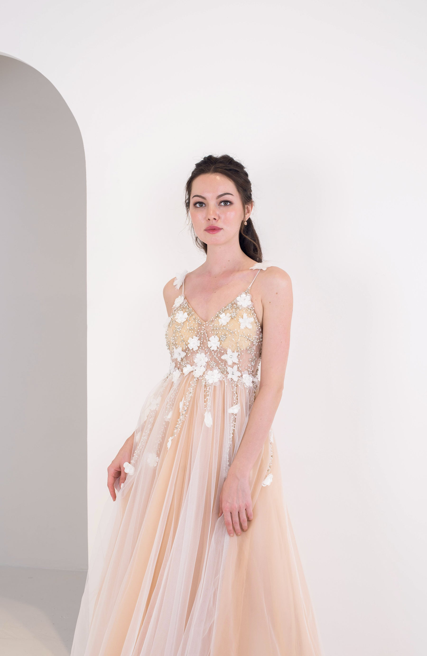 Emelia Champagne Flower Gown