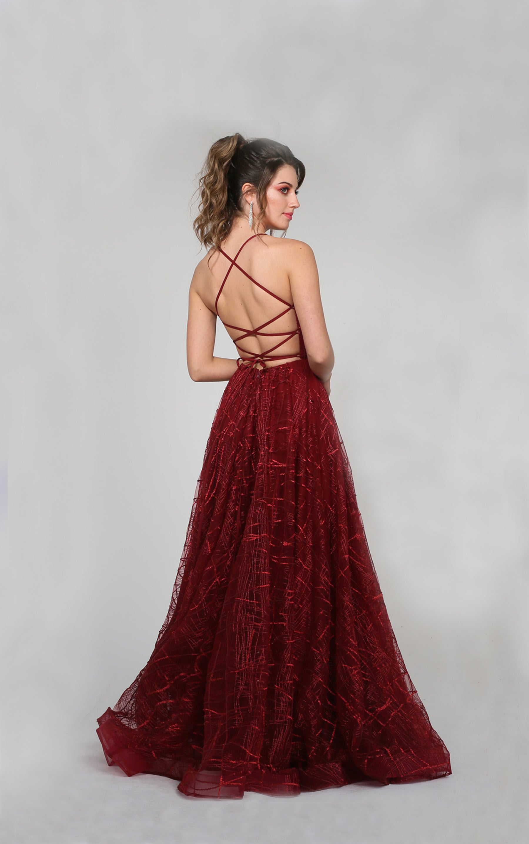 H Aphro Maroon Flare Gown