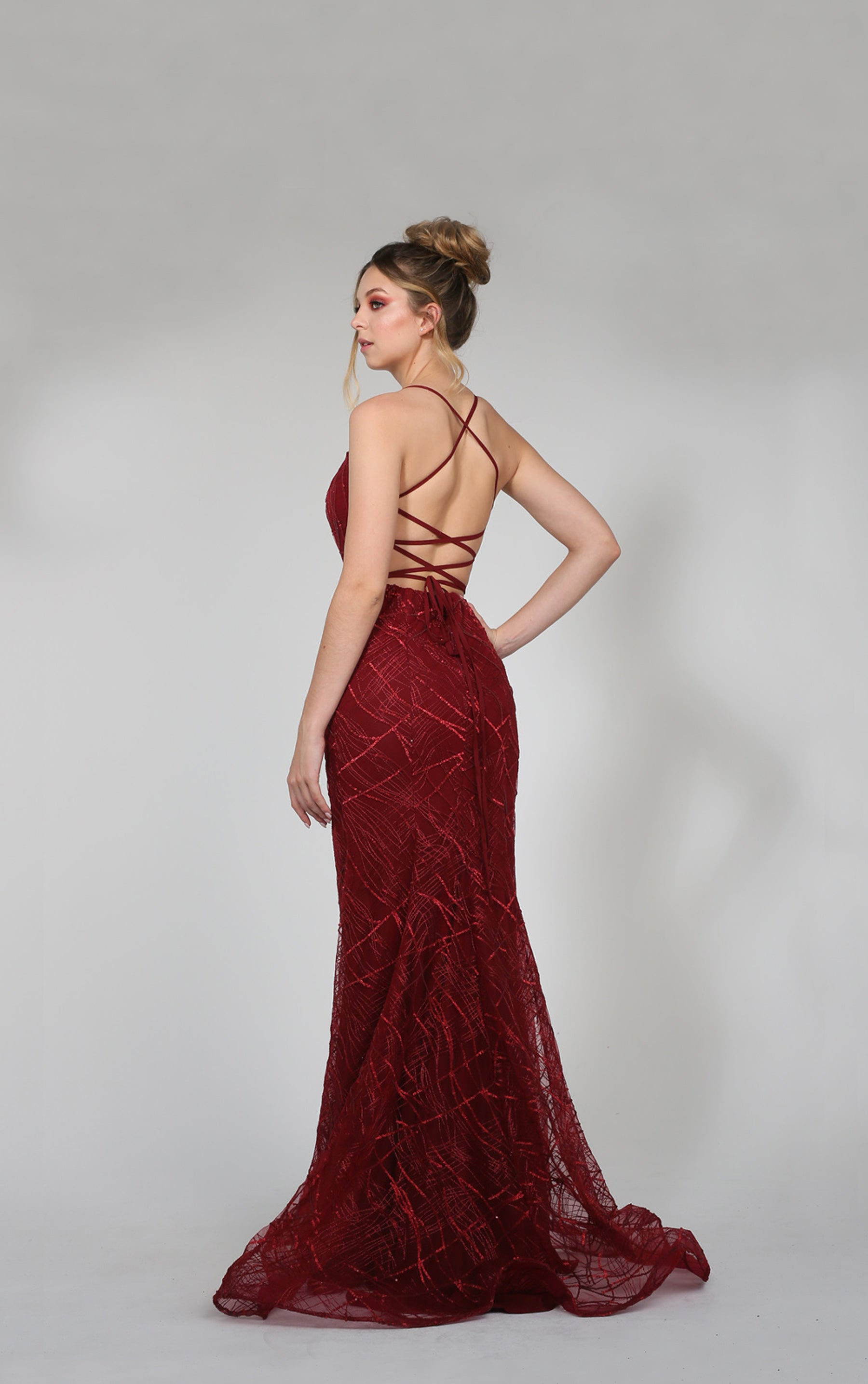 H Aphro Maroon Mermaid Gown