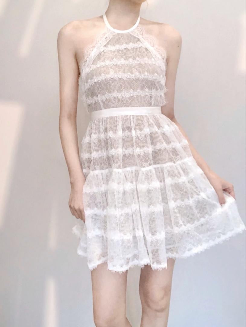 Posey Lacey Halter White Dress
