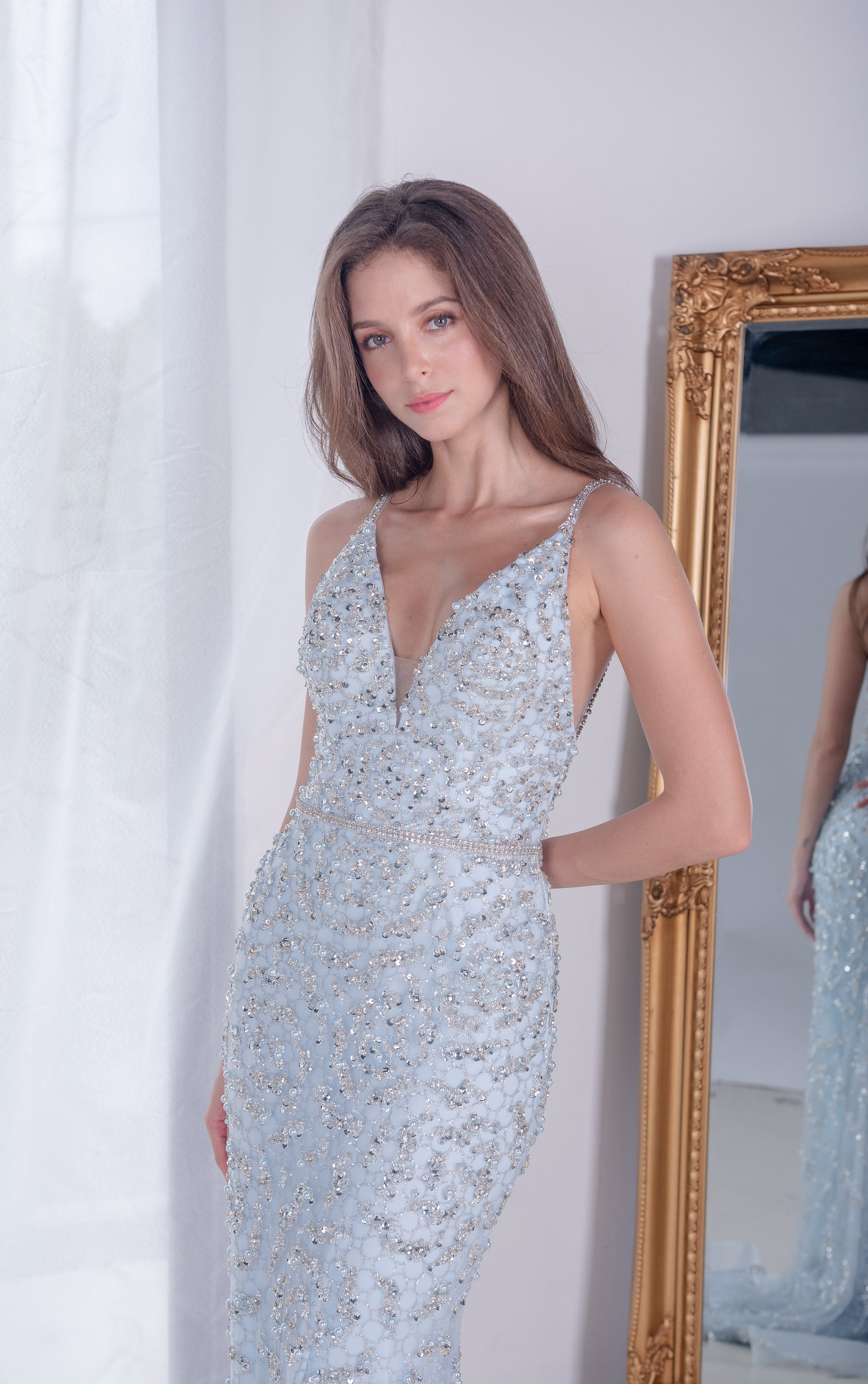 AL Venus Beaded Blue Gown