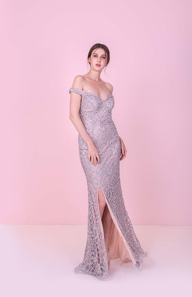 Diamond Stone Off Shoulder Gown