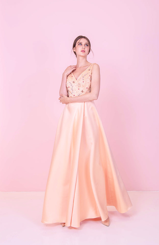 Dion Champagne Sheer Gown