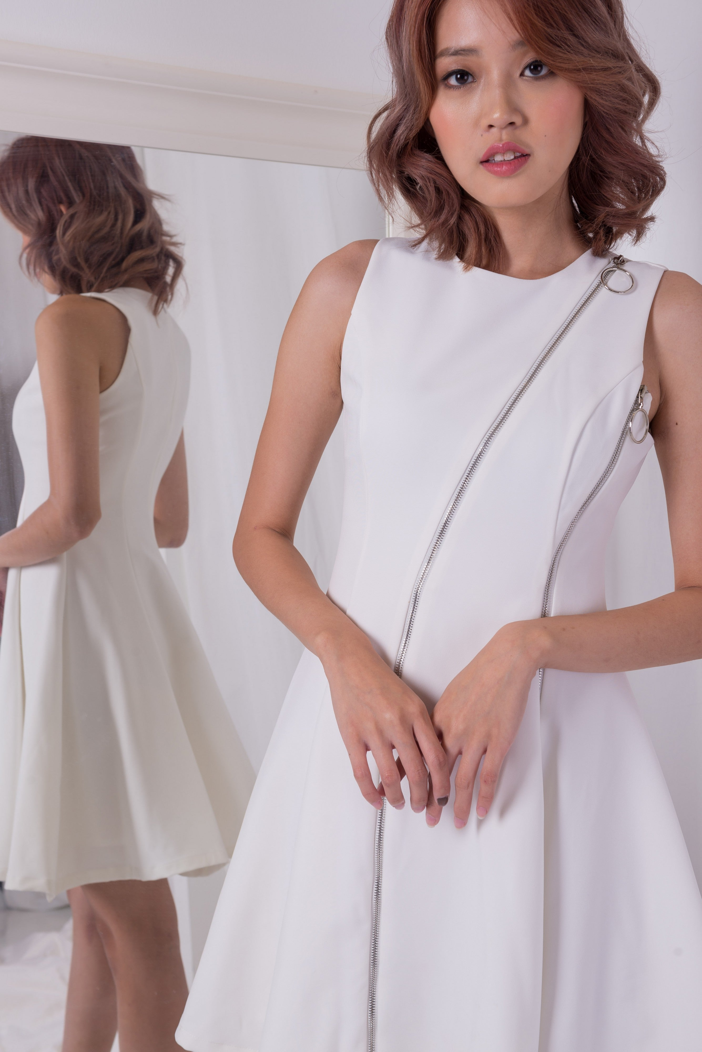 *LAST PIECE* Heart and Soul Zipper White Dress