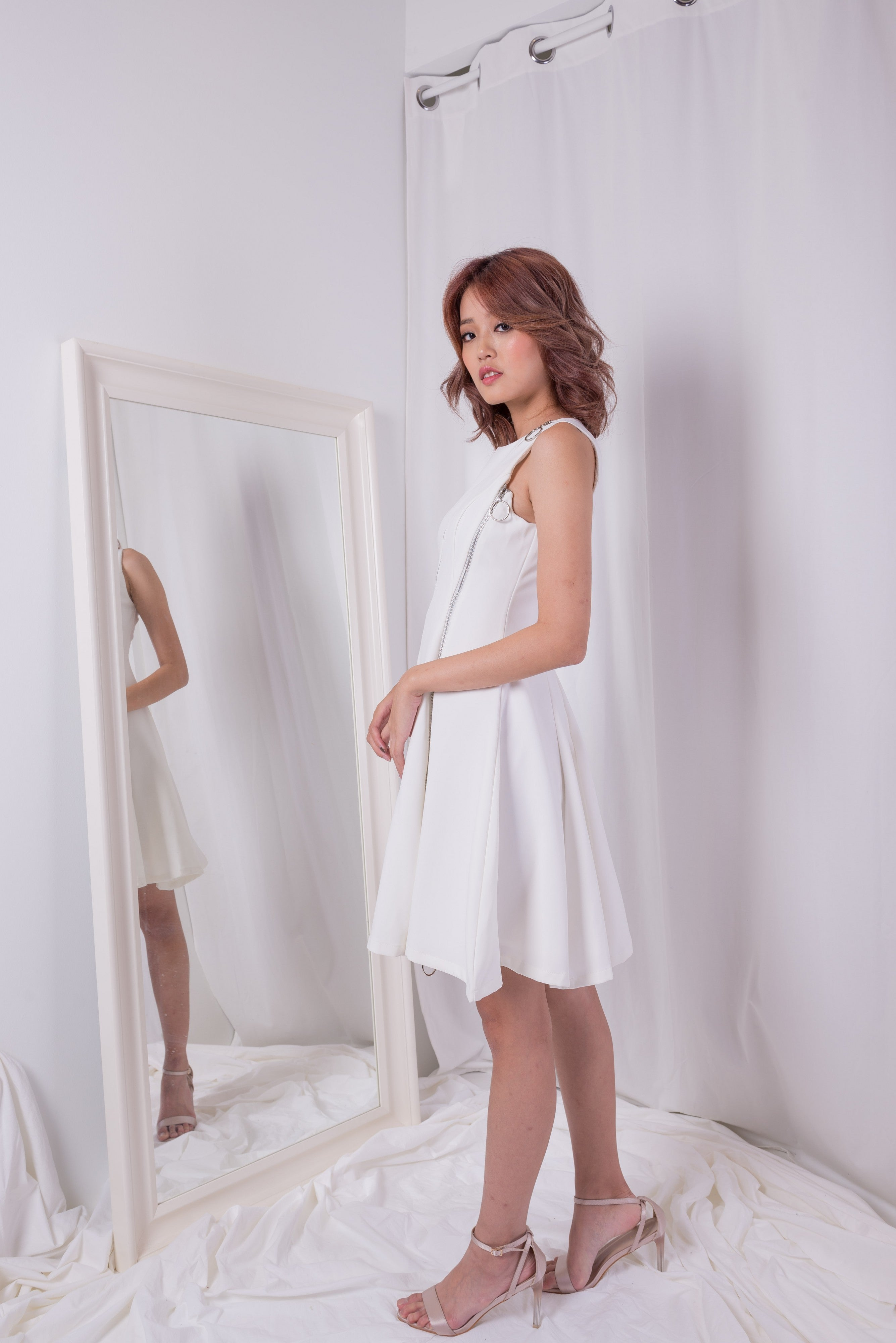 Heart and Soul Zipper White Dress