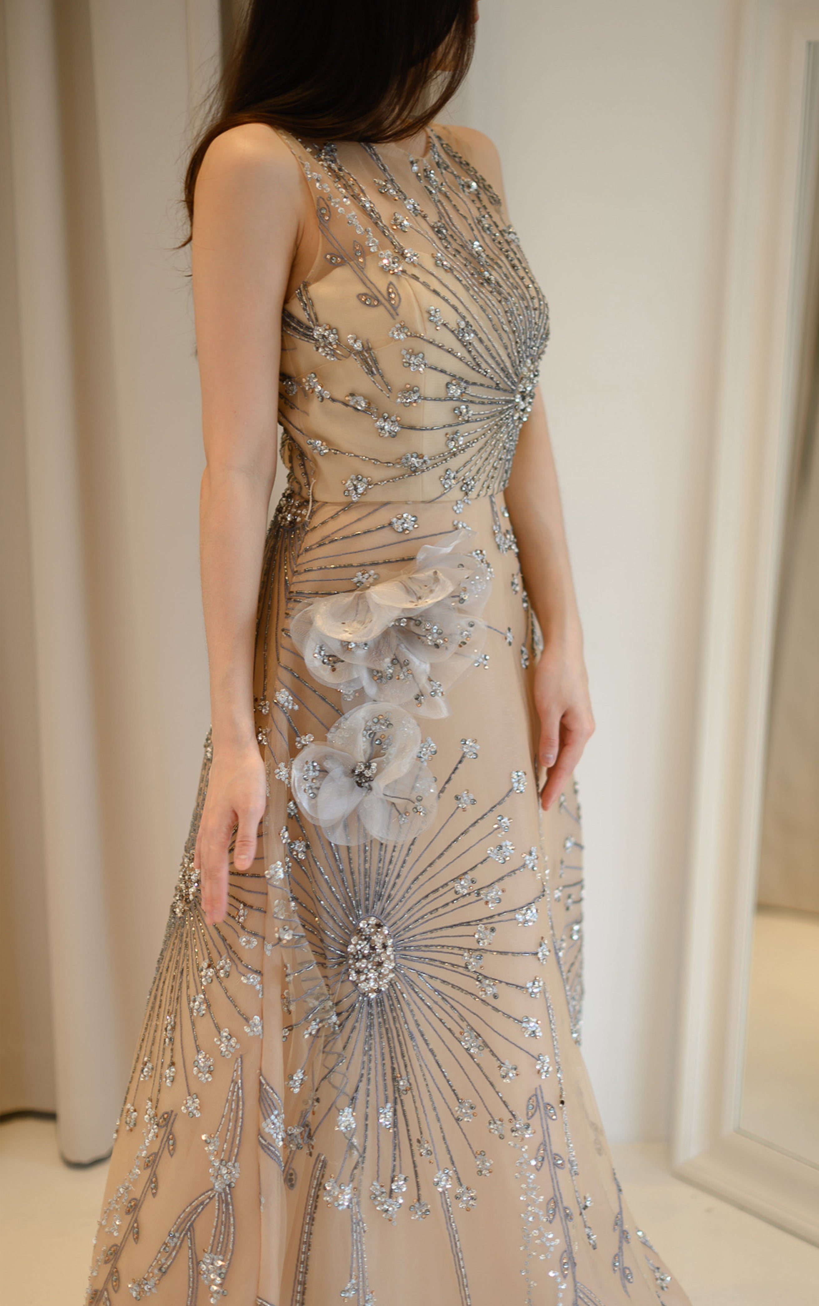 Elie Royal Rose Embroidered Gown