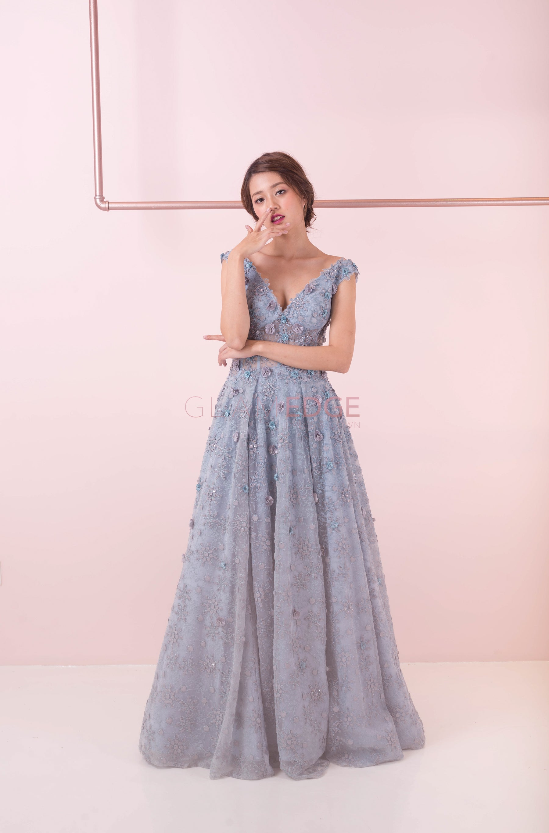 Ocean Of Florals Blue Ballgown