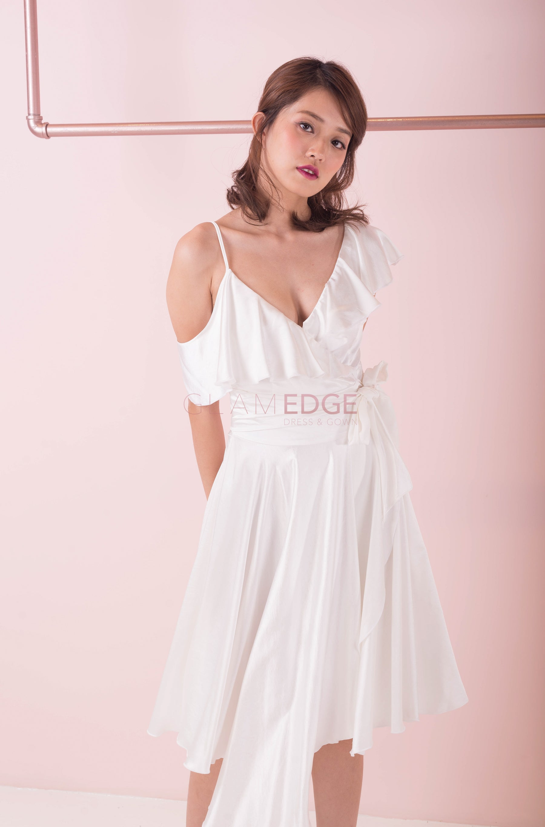 Dream Me Silk White Wrap Dress